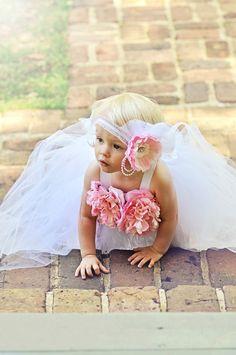 Flower Girl Dress, Tulle Flower Girl Dress, White Tutu Dress, Flower Girl Headband, Flower Girl Tutu, Pink Flower Headband, Outift of Choice...