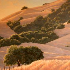 Summer Hills of Marin, Northern California landscape painting, Marin County landscape painting, California hills and oaks, golden hills,  www.terrysauve.com