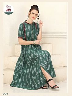 Stunning Designer Cotton Ikkat Printed Kurtis Fabric: Cotton Sleeves: Sleeves Are Included Size: L - 40 in, XL - 42 in Length: Up To Salwar Neck Designs, Kurta Designs, Dress Designs, Ikkat Dresses, Party Wear Kurtis, Frock For Women, Kurti Collection, Fancy Sarees, Ethnic Fashion