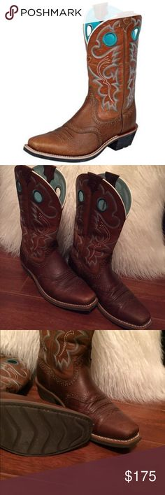 Ariat Cowboy boots Gorgeous cowboy boots. Worn three times. Has minor scuffs on toe area. Western boots look much better with a few scuffs gives it that  rugged look. Selling because they're too big for me. They're a size 9.5, I wear an 8.5 they are just too big. They're awesome boots and they're ready for a new home. Price is negotiable within reason. Thanks for stopping by. If you have any questions please let me know. 💜 brown and a light turquoise color. 🗳 Ariat Shoes