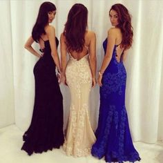 diyouth.com Diyouth 2015 Sexy Open Back Royal Blue Lace Prom Dress Sheath Mermaid Formal Evening Dress Celebrity Gown