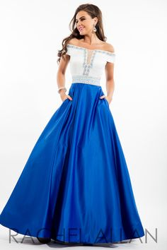 7101 - Off-the-shoulder satin ball gown with square cut-out back