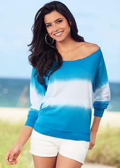 BLUE MULTI Dip dye sweatshirt, denim short from VENUS http://www.venus.com/viewproduct.aspx?BRANCH=351~4696~&ProductDisplayID=22793