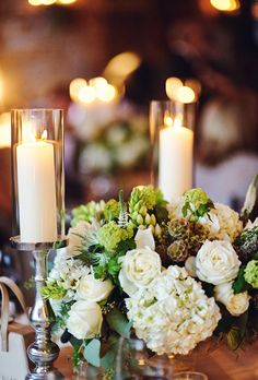 Ivory and Green Wedding Centerpiece Glass candle covers