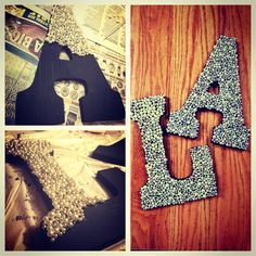 Decorative letters to hang in your dorm room! Do It Yourself Wedding, Do It Yourself Home, Fun Crafts, Diy And Crafts, Arts And Crafts, Pearl Letters, Glitter Letters, Cadre Diy, Ideias Diy