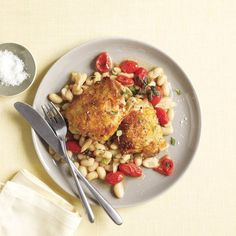 Chicken With White Beans and Tomatoes | Get the recipe for Chicken With White Beans and Tomatoes.