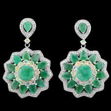 ELEGANT REAL GREEN EMERALD,RAINBOW FIRE OPAL,WHITE CZ SOLID 925 SILVER EARRING