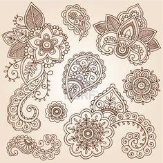 Henna Flowers and Paisley Mehndi Tattoo Doodles Set Stock Photo - 15939993