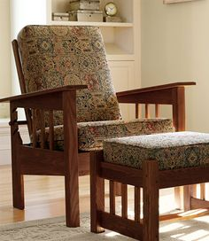 LL Bean Mission Morris Chair- can get in dark wood with leather cushions on chair and ottoman.