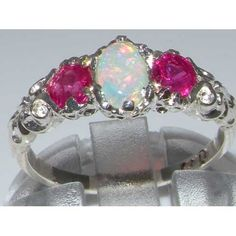 Ladies Solid White 10K Gold Natural Opal & Ruby English Victorian Trilogy Ring – Size 8 – Finger Sizes 5 to 12 Available – Ideal gift for Valentines, Mothers Day, Birthday, Christmas, Thanksgiving, Graduation, Confirmation, Easter http://www.easterdepot.com/ladies-solid-white-10k-gold-natural-opal-ruby-english-victorian-trilogy-ring-size-8-finger-sizes-5-to-12-available-ideal-gift-for-valentines-mothers-day-birthday-christmas-thanksgiving/ #easter  One centre oval cut 6×4 mm (0.24″ x..