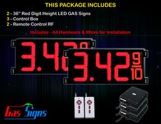 36 Inch Digits - 2 Red Digital GAS PRICE Gasoline LED SIGNS - Complete Package w/ RF Remote Control with housing dimension H1005mm x W2434mm x D100mmand format 8.88 9/10 comes with complete set of Control Box, Power Cable, Signal Cable & 2 RF Remote Controls (Free remote controls).