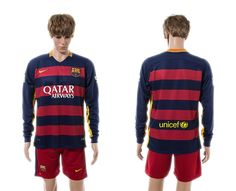 2015-2016 Barcelona Home Long Sleeve Soccer Jersey