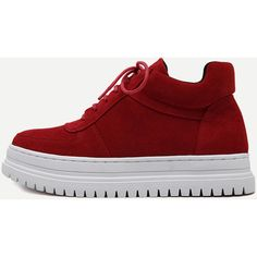 Red Plush Leather Lace Up Flatform Sneakers (91 NZD) ❤ liked on Polyvore featuring shoes, sneakers, red leather shoes, leather sneakers, red mid heel shoes, lace up sneakers and red trainers