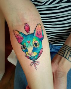 54 cat tattoos that will make you want to get inked: Neon kitty