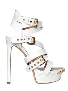 DSQUARED - 150MM BELTED LEATHER SANDALS - LUISAVIAROMA - LUXURY SHOPPING WORLDWIDE SHIPPING - FLORENCE