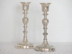 Pair of Vintage Silver plated Candle Holder for by VintagetoFrance
