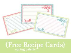 See Jane Scrapbook: Freebie - Recipe Cards