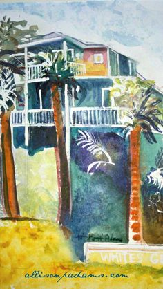 CUSTOM home portraits Order on watercolor paper~  you provide the photo (cards available) on canvas~   Other sizes available  Email for information : allisonpadams at aol.com allisonpadams.com