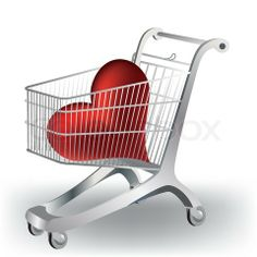 Shopping carts with a heart stock vector