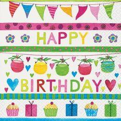Lunch Servietten Happy Birthday Girlande Geschenke Muffin - Servietten Versand Tischdeko Kerzen OnlineShop