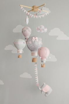 Pink and Gray, Baby Mobile, Hot Air Balloons, Elephant Mobile, Nursery Decor, Travel theme nursery, i146