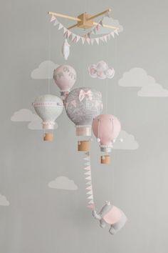 Hot Air Balloon Baby Mobile, Elephant Baby Mobile, Travel Theme Nursery Decor, i146