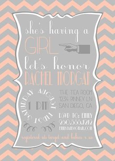 Chevron Baby Shower Invitation Printable by GracefulCelebrations