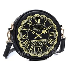 $11.85 Fashion Women's Crossbody Bag With Clock Print and PU Leather Design