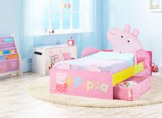 HelloHome Toddler Bed with Storage - Peppa Pig Beds Uk, Kid Beds, Disney Toddler Bed, Familia Peppa Pig, Toddler Bed With Storage, Mickey Y Minnie, Girls Bedroom, Theme Bedrooms, Bedroom Ideas