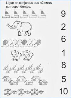 Nosso Espaço Educando: Alfabetização - Atividades com numerais Preschool Writing, Numbers Preschool, Preschool Learning, Teaching Kids, English Worksheets For Kids, Kindergarten Math Worksheets, Preschool Activities, Worksheet For Nursery Class, Nursery Worksheets