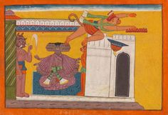 The Monkey Prince Angada Steals Ravana's Crown: Folio from the dispersed Shangri Ramayana series (Style III) New York Exhibitions, New York Museums, Century Textiles, Monkey King, Watercolor And Ink, Metropolitan Museum, Asian Art, Art For Sale, Miniature Paintings