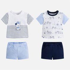 Conjunto cuatro piezas camisa y pantalón corto niño
