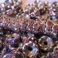 Aged Silver Light Rose Czech Crystal Rhinestone Rondelle Spacers - 8mm
