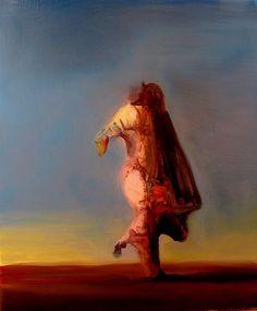 Untitled (2012) by Spanish painter Joseba Eskubi (b.1967). Oil on canvas, 55 x 46 cm. via Escape  Into Life