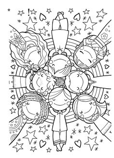 Cute kids colouring page