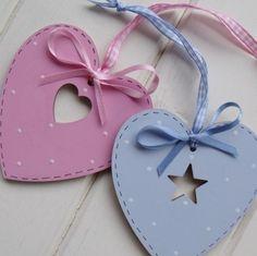 pink & blue heart ornaments