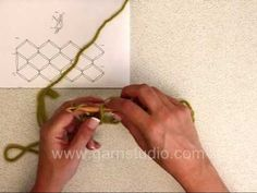 ▶ DROPS Crochet Tutorial: How to crochet a love knots square - YouTube