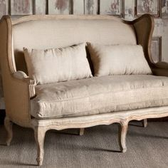 Burlap & Linen Wingback Settee | Painted Fox Home