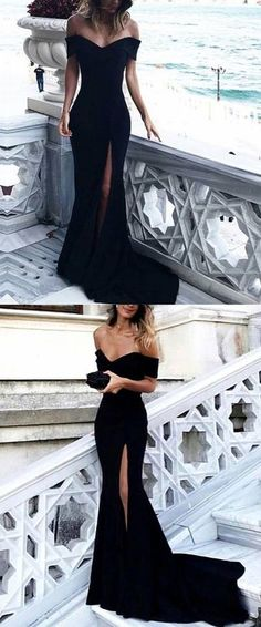 prom dresses,2018 prom dresses,long prom dresses,off the shoulder slit prom dresses,black split evening dresses