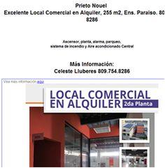 Excelente Local Comercial en Alquiler, 255 m2, Ens. Paraiso. 809-754-8286