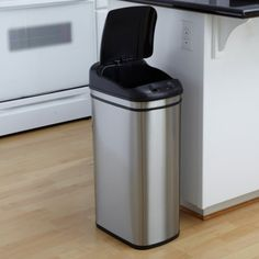 Nine Stars DZT-42-1 Touchless Stainless Steel (Silver) 11.1 Gallon Trash Can