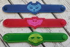 PJ Bedtime Hero Bracelet Blue, Green, Red, Bedtime Heroes, Child Wristband - Party Favors !! Birthday Gift !!