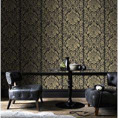 gold living room ideas, damask wallpaper