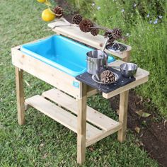Buy TP Toys Muddy Cook Play Kitchen from our Garden Toys & Games range at John Lewis & Partners. Mud Pie Kitchen, Kitchen Logo, Wooden Kitchen, Outdoor Play Kitchen, Stainless Steel Pans, Play Equipment, Water Toys, Stencil Diy, Garden Toys