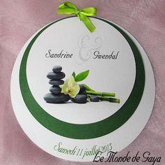 Faire part 3 ronds orchidée blanche bambou pour votre mariage, baptême, communion, anniversaire.... Communion, Orchids, Zen Wedding, Bamboo, Birthday, Love, Community, Orchid