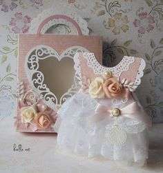 belle art: Sukienka w tiulu i koronce, kartka sukienka, chrzest, dress card, baptism,