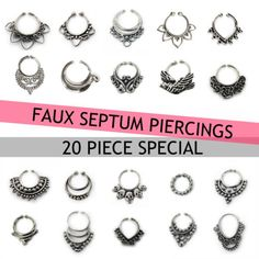 YOU CHOOSE 20 PIECE FAKE FAUX ORNATE SILVER SEPTUM NOSE RING HOOP GAUGE PIERCING - Palina Design