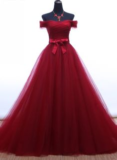 Red Long Prom Dresses for Girls A Line Off Shoulder Tulle Evening Dress Party for Graduation Promdress vestidos de baile