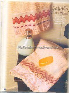 Arte by Cachopa - Bordado I: Salmão é a base dessa toalha de lavabo