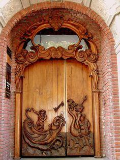 Hand-Carved Wood Door ~ Hamburg, Germany
